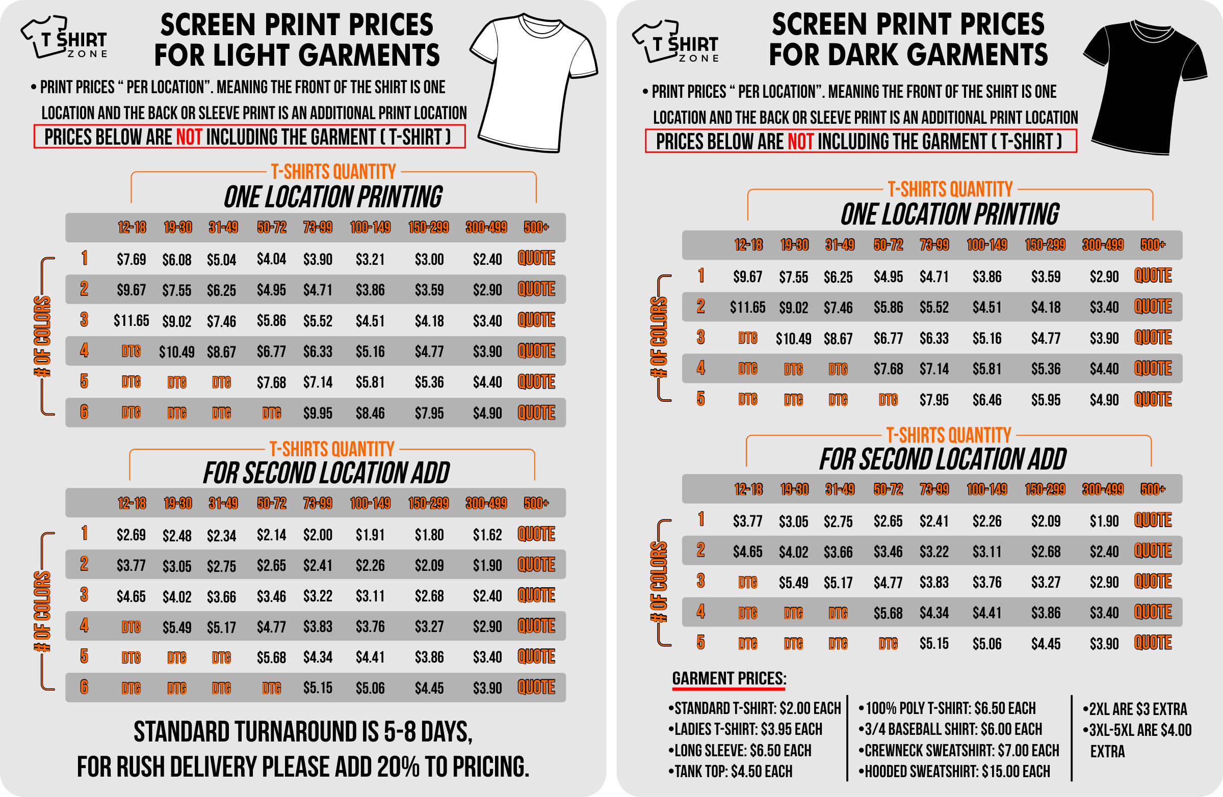 a714b8cc ... based on the quantity and style of shirt your looking to order. Second,  if you are just curious to know our prices for screen or digital printing  check ...